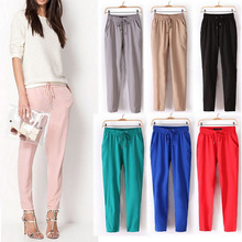 2016 Summer bestselling  Pants thin Plus Size Women Pants Casual Harem Pants Drawstring Elastic Waist Pants  Women Trousers(China (Mainland))