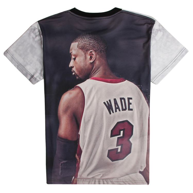 New arrive men's summer tops 3D print Dwyane Tyrone Wade novelty basketball tee shirt t shirts for man(China (Mainland))