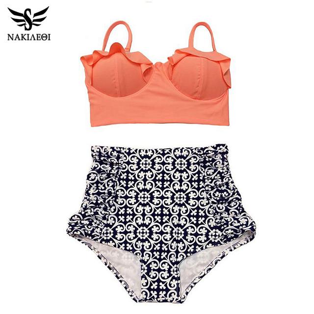 2016 высокой талией бикини женщин купальник Большой размер старинные ретро цветочный росту комплект бикини одежда для пляжа XL