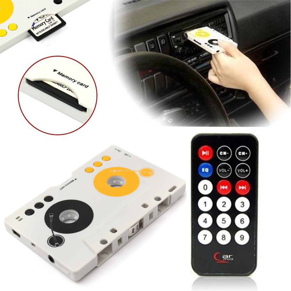 New Vintage Car Tape Cassette SDMMC MP3 Player Adapter Kit With Remote Control For Phone For