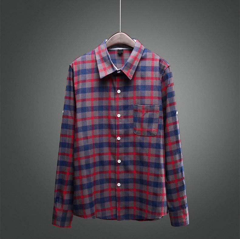 Brand mens vintage plaid check long sleeve shirt slim fit for Mens casual plaid shirts