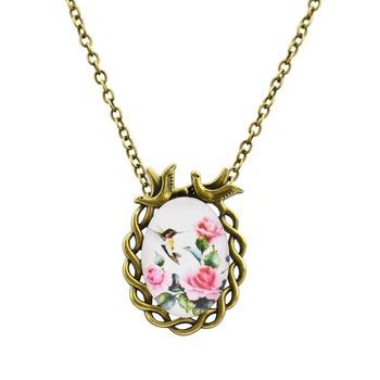 Cabochon Birds & Flowers Necklace
