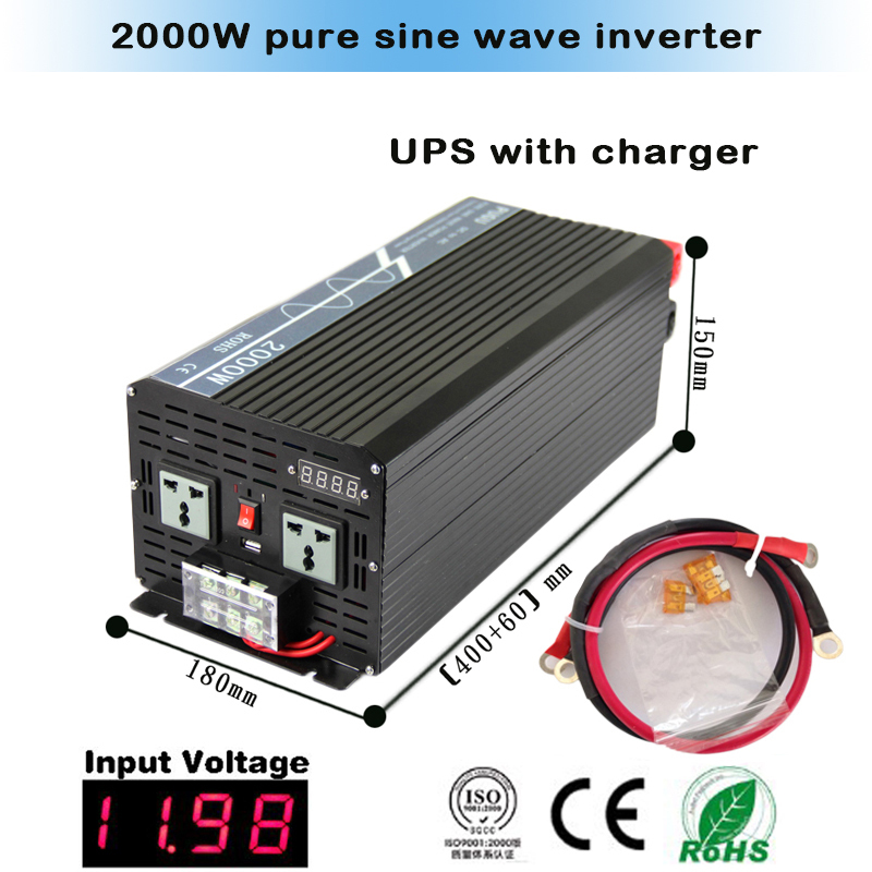 Pure Sine Wave Inverter 2000W 4000W Peak 12V/24VDC 110V/100VAC 220V/230VAC USB CE RoHS Solar And Car Power Inverter(China (Mainland))