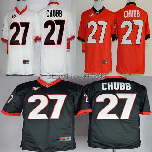 Ncaa Georgia Bulldogs #27 Nick Chubb college football jerseys adult/ youth mix order free shipping(China (Mainland))
