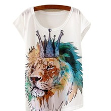 2016 New Fashion Multi-Style Animal Floral Print Casual Women Short Sleeve Loose Tank T-shirt Tops