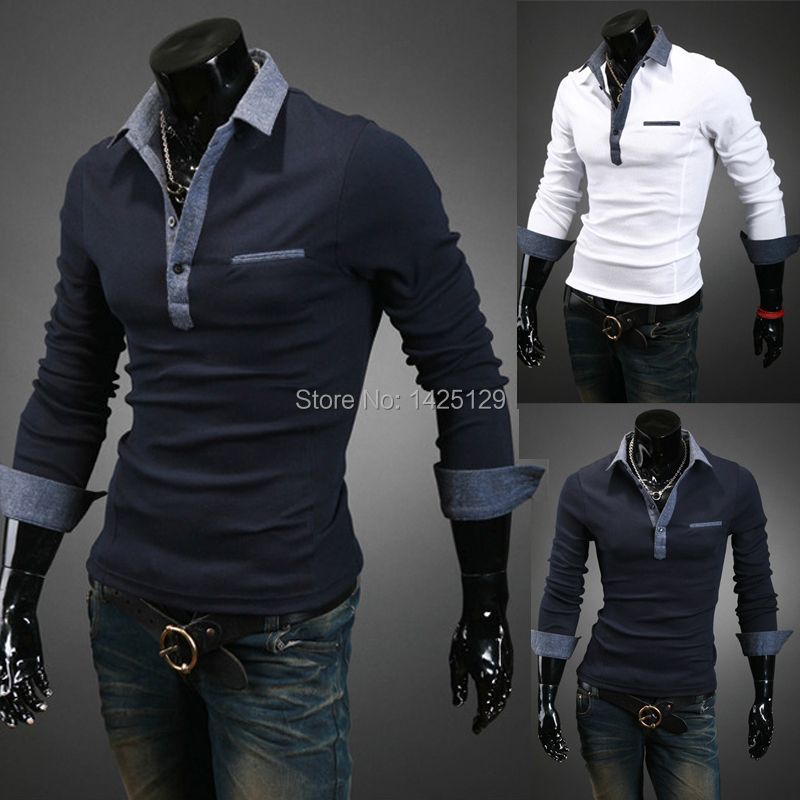 2015 New Hot-selling Men's Clothing male slim denim turn-down collar bottoming shirt casual long-sleeve POLO - Jerry's shop store