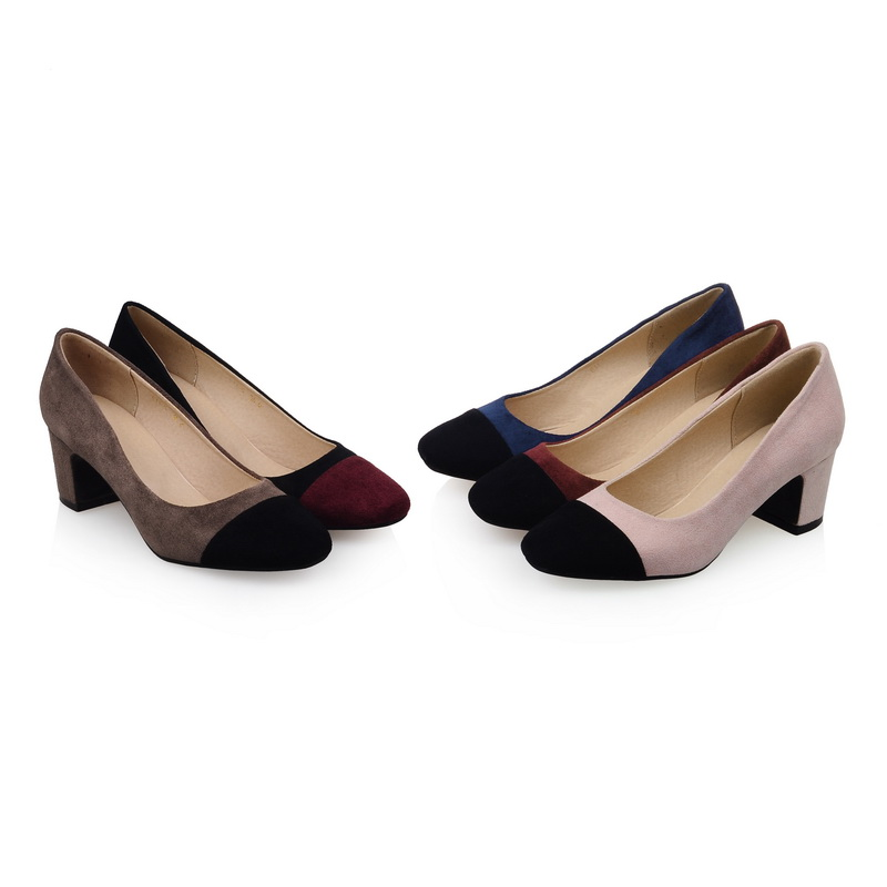 Apricot Black Blue Pink Red Women's Fashion Shoes Faux Suede Med Block Heels Ladies' Casual Pumps US 2-10.5/EU 32-43 s714(China (Mainland))