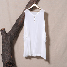 2015 Summer Style New Women Top Literary Solid Color Sleeveless V Neck Loose Plus Size Vest Irregular Cotton Linen Long Tanks(China (Mainland))