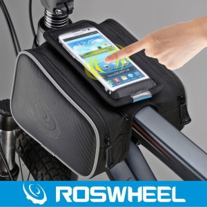 Roswheel 1.8L Cycling Bike Front Frame Bag Tube Pannier Double Pouch for 5in 5.5in Cellphone bicycle accessories Free shipping(China (Mainland))