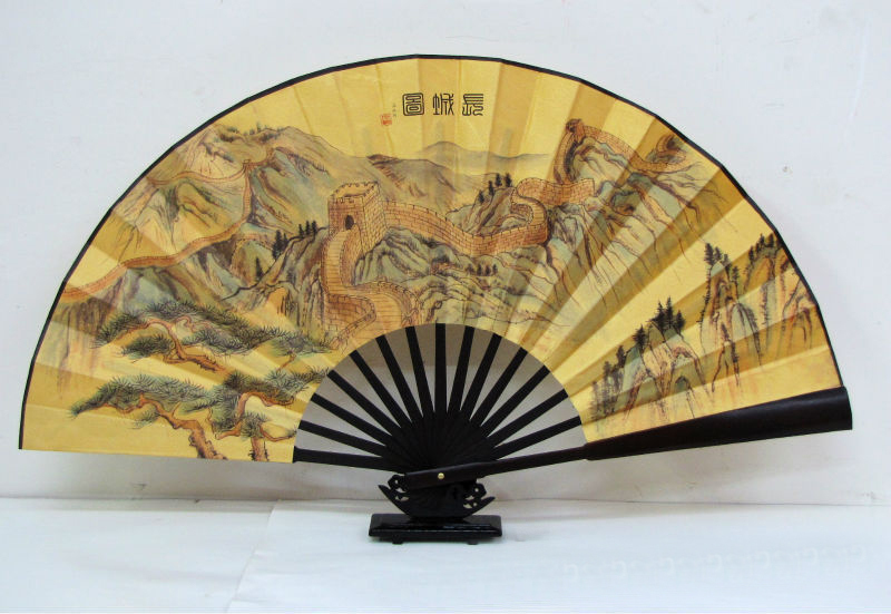 Free Shipping!! CHINESE DOUBLE HAND FAN Large Folding Durable Fabric Bamboo Fan--The Great Wall(China (Mainland))