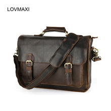 Men's Genuine Leather Briefcases Men Vintage Crazy Horse Leather Business Crossbody Bags Large Handbags Messenger Bag Travel Bag(China (Mainland))