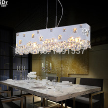 Modern minimalist fashion creative crystal chandelier lamp meal hanging den hotel restaurant bar rectangle(China (Mainland))