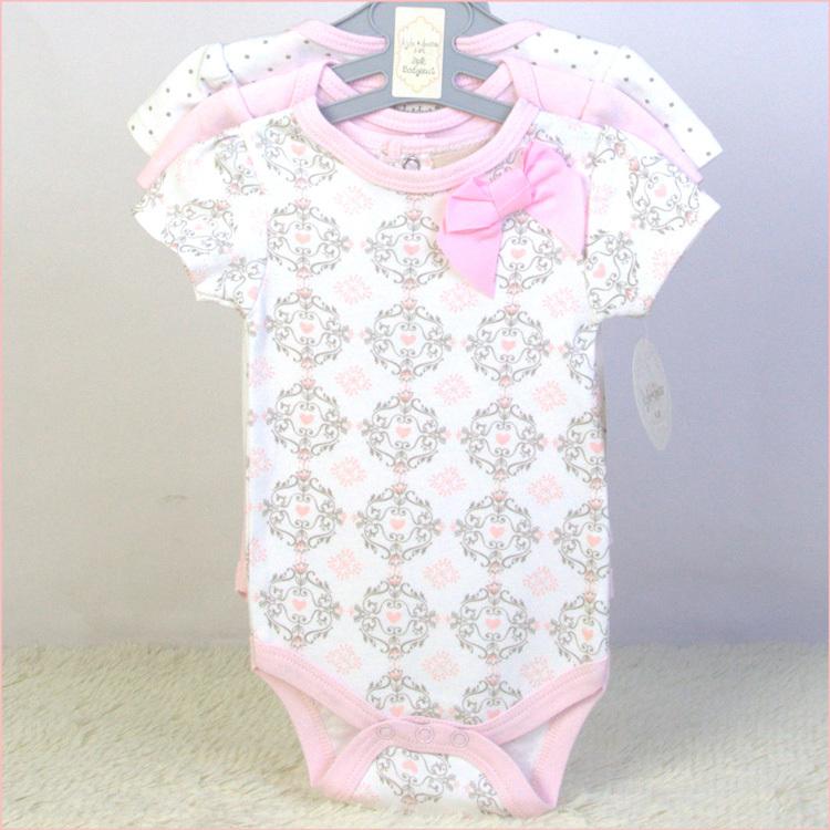 wholesale 2015 New baby girl bodies jumpsuits & baby bodysuits 3pcs/lot 100% cotton newborn & infant short sleeve clothing set(China (Mainland))