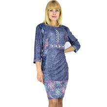 BFDADI 2016 летом модеое ретро отпечатано 3/4 рукав с о-образным шеи платье для женщин ажурными кружевами карманные платья XL-6XL большой размер платья 7 - 35772(China (Mainland))