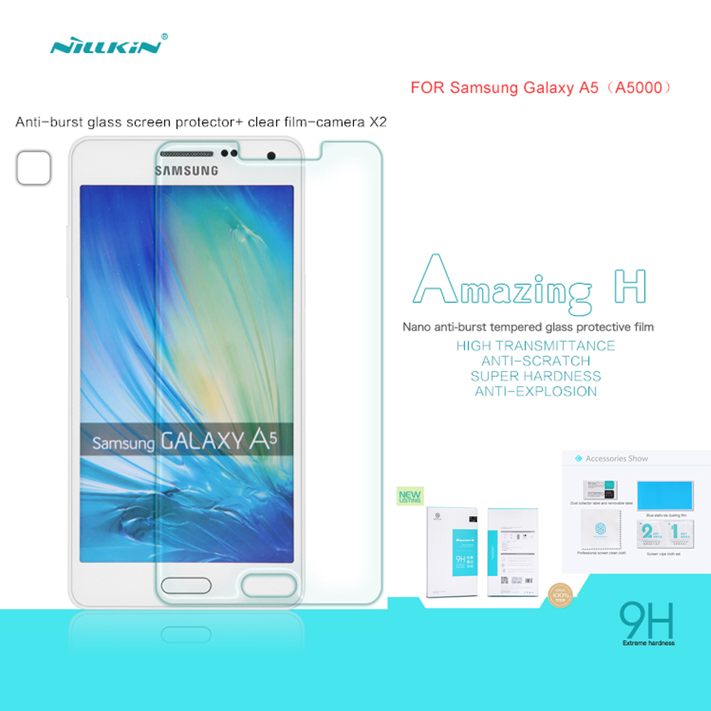 NILLKIN Amazing Nanometer H Anti-Explosion Tempered Glass 9H Screen Protector Film For Samsung Galaxy A5 A500 A5000 with package(China (Mainland))