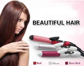От 110 до 240 В 2-in-1Professional железный горячая волос для завивки волос выпрямитель для прическа DIY парикмахерских стилизация инструмент