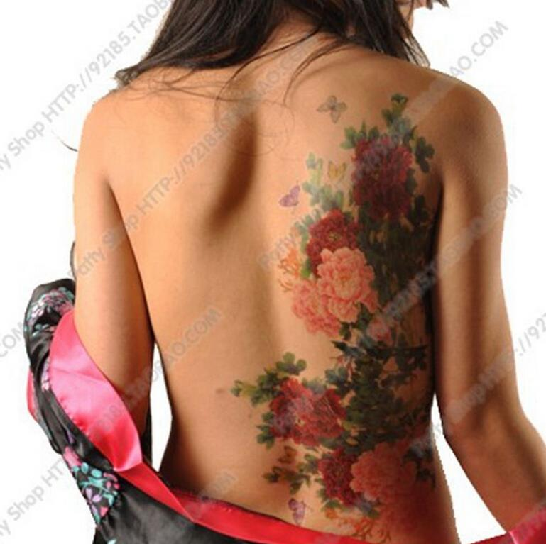 Floral Tattoo Flower Peony Phoenix Butterfly Back Waterproof Large Temporary Tattoo Sticker For Body Art 10 Kinds Of Styles(China (Mainland))