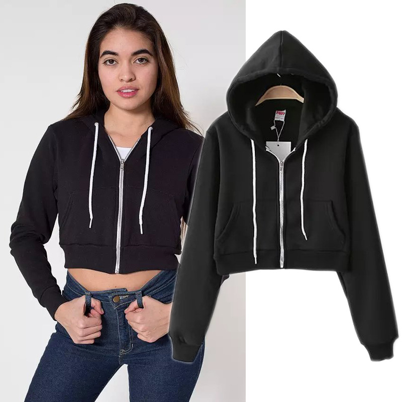 Classic Edition fleece solid color Slim short cropped hoodie zipper sweatshirt women casual tracksuit,nwy327Одежда и ак�е��уары<br><br><br>Aliexpress