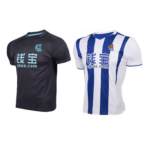 2016 17 Real Sociedad soccer jersey home away blue black 16 17 football shirt custom name and number(China (Mainland))