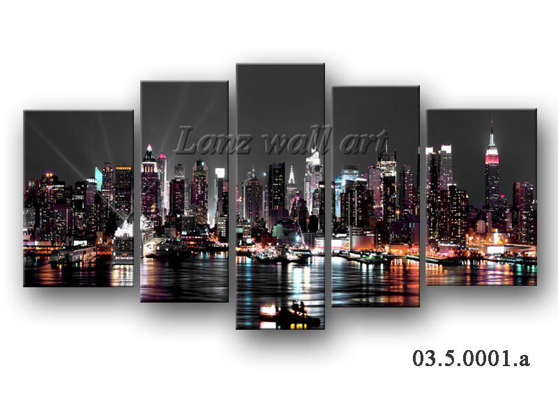 Canvas prints home decoration wall picture New York City at night unframed without wooden frame canvas only(China (Mainland))