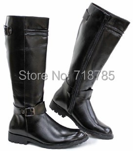 HOT !! Fashion Male High Boots Trend Brief Elegant European Version Handsome Brown Denim Boots Riding Boot Man Shoes Best Gifts(China (Mainland))