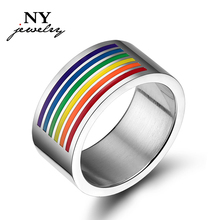 fashion big rainbow ring stainless stee jewelry 10mm top quality PR-006