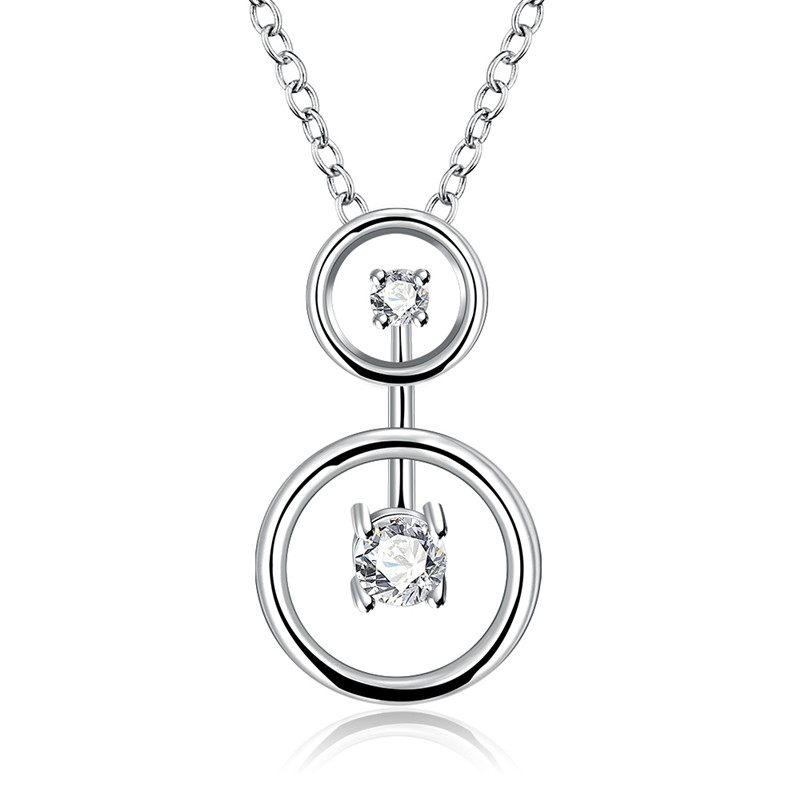 Europe Trendy Double Round Design Pendant Necklace Silver Plated CZ Diamond Fashion Jewelry For Women Vintage Accessories QA0115(China (Mainland))