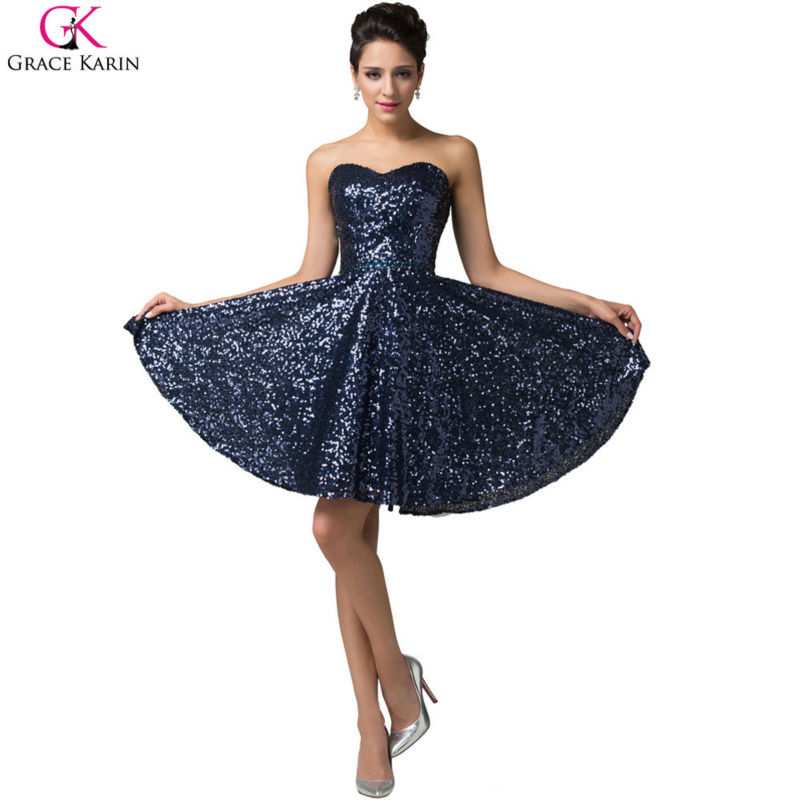 Sparkly Glitter Grace Karin Lace Up Strapless Sequin Short