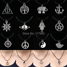 Min.order is $10 (mix order)2 Style New Charms Tibetan Silver Pendant Necklace Choker Black Leather Cord JE256