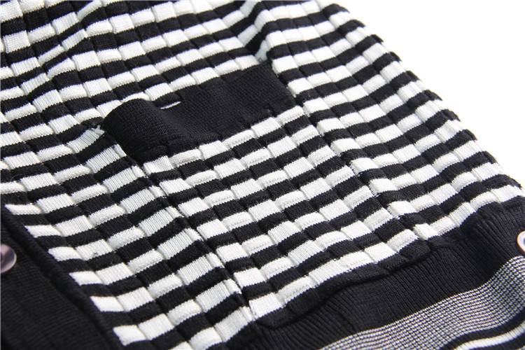 women's high quality wool sweater autumn winter runway fashion loose oversize black striped v-neck knited cardigan sweater