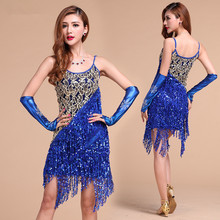 Buy Latin dance costume performance wear Sling Sequin latin Tassels dancing dress clothing S/M/L 4 colors for $27.15 in AliExpress store