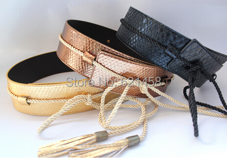 Europe and the United States woman adornment obi Snake leather jacket golden black tassel belt strap runway looks T field