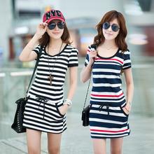Slim Street Wear New Fashion 2015 Summer Style Woman Clothing Casual Striped Woman Dress Cotton Short Sleeve Dress Woman FC-0083(China (Mainland))