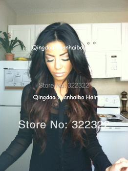 Free Shipping brazilian virgin hair two tone color T1b#/4# 18inch Loose Wave lace front wig/glueless full lace wigs