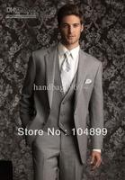 Custom Made Two buttons Notch Lapel Light gray Groom Tuxedos Best Man Suits Groomsmen Men Wedding Suits (Jacket+Pants+Vest+Tie)