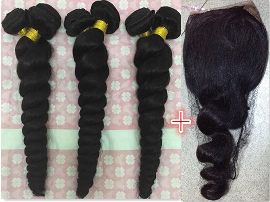 7A  Hot Sale Vietnamese Virgin Hair loose Wave Wavy Hair With Closure Silk Lace Closure With Bundles Human Hair With Closure<br><br>Aliexpress