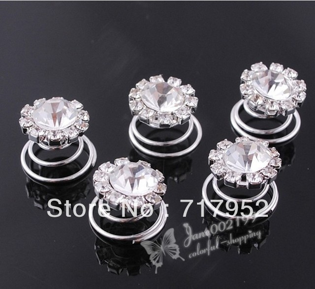 60 Pcs Fashion Crystal Swirl Hairpins Bridal Wedding Hair Accessories FC040