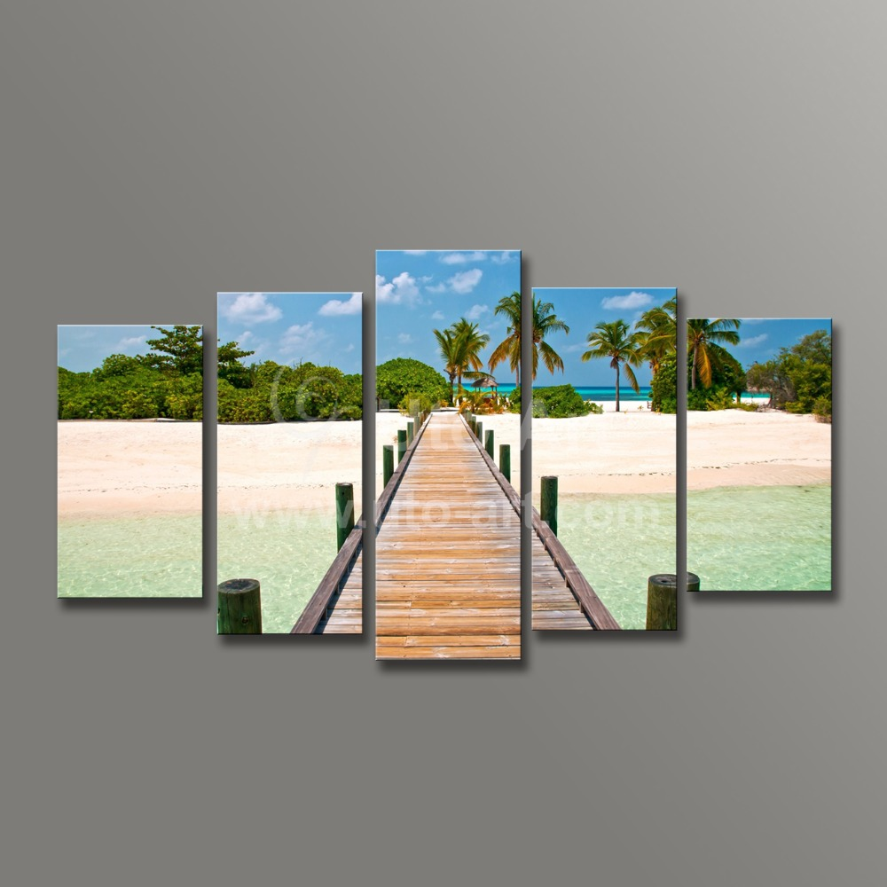 Modern wall decoration painting seascape 5 piece canvas art ocean beach painting custom canvas prints modular pictures for home
