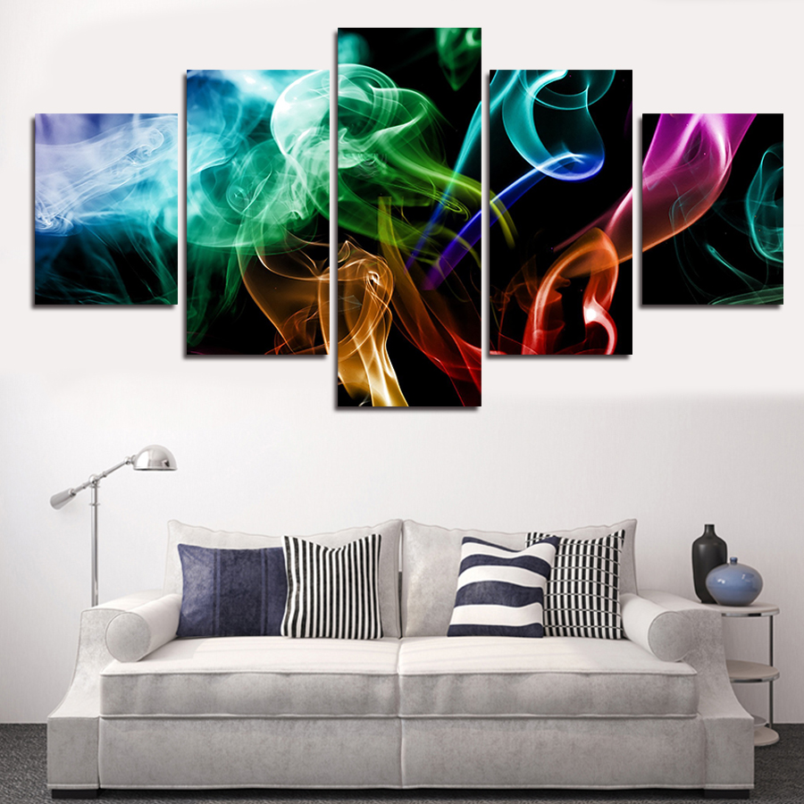 2016 multi piece 5 panel wall art abstract paintings for Art painting for home decoration