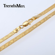 Free Shipping New Arrival Mens Womens Yellow Gold Filled GF Herringbone Link Chain Necklace Yellow Tone AN02