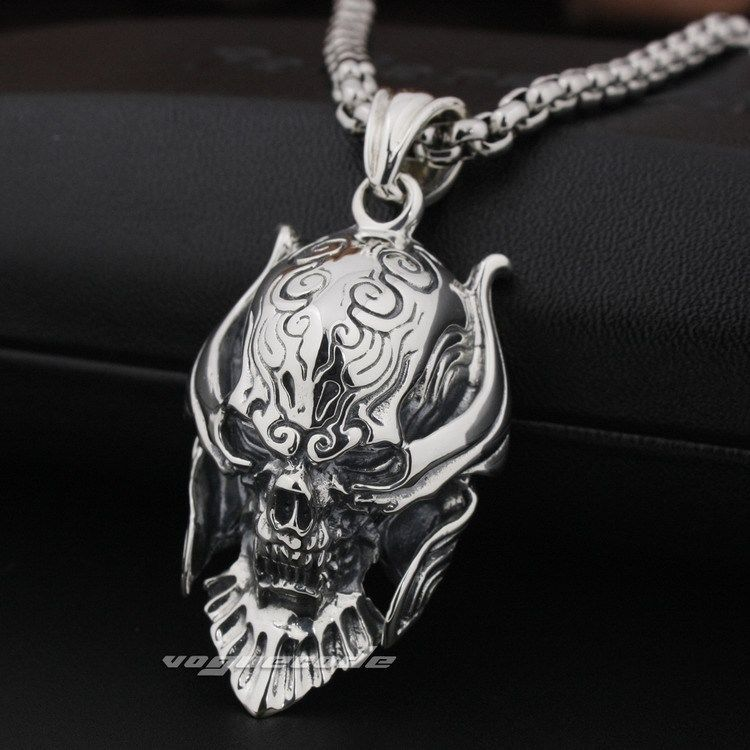 Big king Vampire Demon Skull 925 Sterling Silver Pendant 8Q001(Necklace 24inch)<br><br>Aliexpress