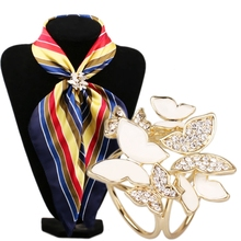 Korean Fashion Wild Butterfly Tricyclic Scarf Buckle Brooch 2016 Women's Stewardess Rhinestone Scarf Buckle Jewelry(China (Mainland))