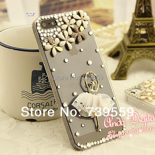 Case for apple iphone 4 4s 5 5s, 5s Luxurious case,for apple iphone 4 s Jewelry case,Diamond Ballet girl case for apple iphne 5(China (Mainland))