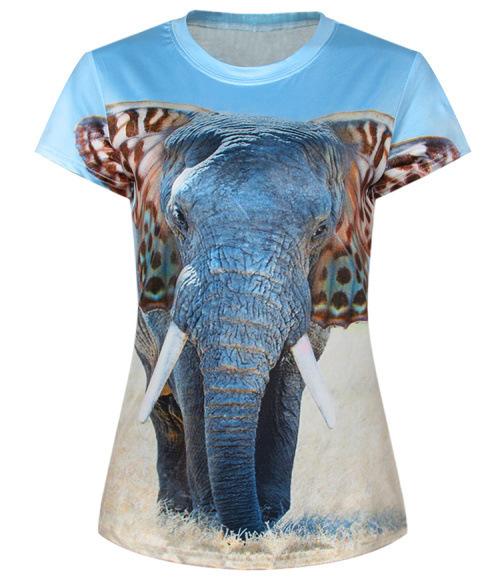 New fashion women t shirts short sleeve lady print 3d for Elephant t shirt women s