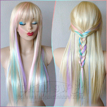 Blonde/Pastel color highlights rainbow wig. Fairy princess wig.Long straight hair with bangs wig. Heat resistant multi color wig(China (Mainland))