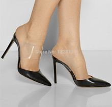 Cheap Shoes Online Black Women Pumps Patent Leather Pumps Slingback Shoes Woman Pointed Toe Heels Stiletto High Heels Size 14(China (Mainland))