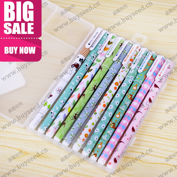 Free shipping New Cute Cartoon Colorful Gel Pen Set Kawaii Korean Stationery Creative Gift School Supplies 10 pcs/lot(China (Mainland))