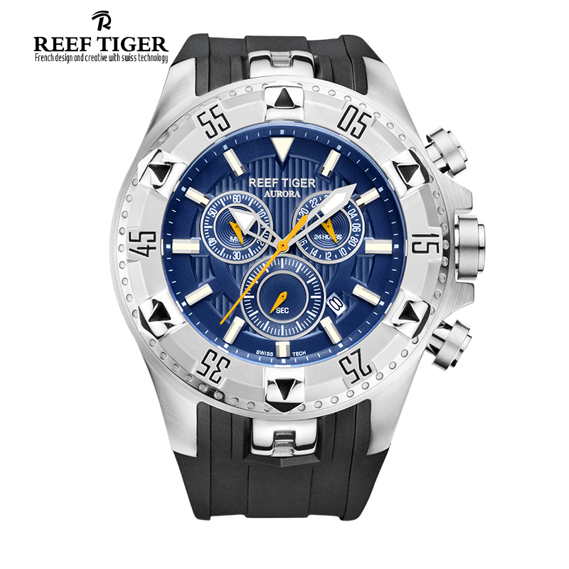Reef Tiger/RT Men Casual Watches Quartz Watch with Chronograph and Date Big Dial Super Luminous Steel Sport Watch RGA303(China (Mainland))