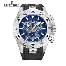 Reef Tiger/RT Men Casual Watches Quartz Watch with Chronograph and Date Big Dial Super Luminous Steel Sport Watch RGA303