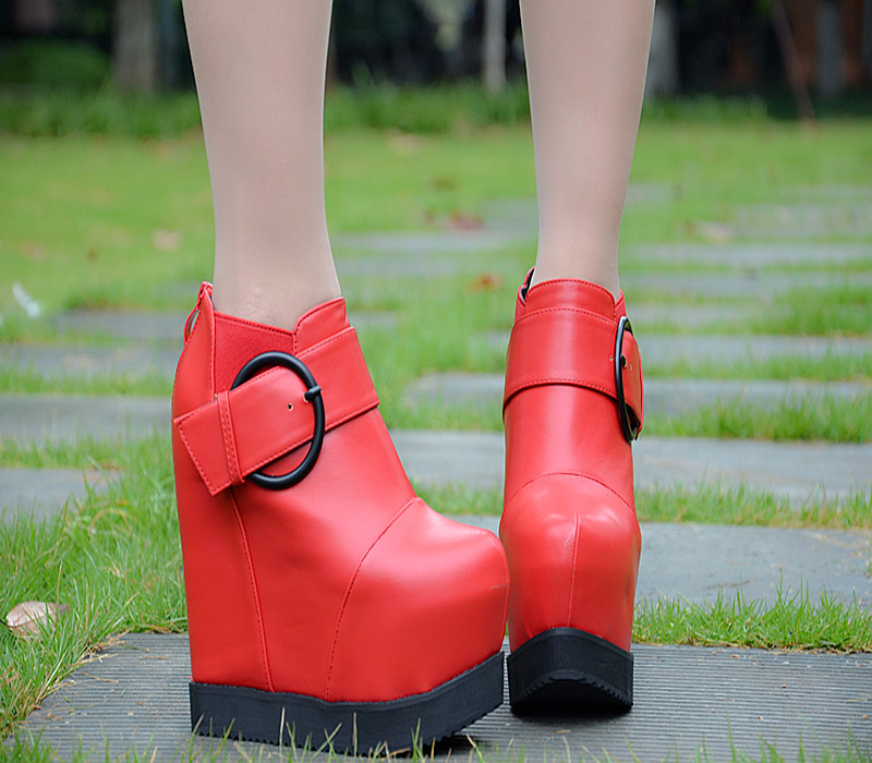2016 Autumn And Winter New 15cm Plus Velvet Boots Online Shopping For High Heeled Shoes Office Black Wedge Ankle Booties